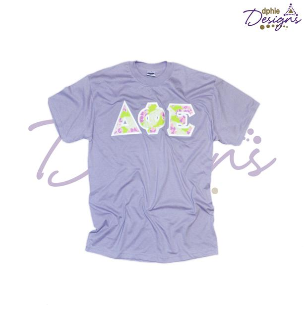 All Apparel Floral Sewn On Lavender T Shirt T Shirt